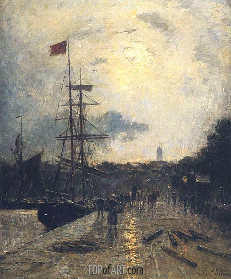 A Quay at Caen, undated | Lepine | Painting Reproduction