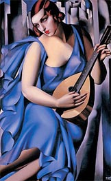 Lady in Blue with Guitar, 1929 by Lempicka | Painting Reproduction