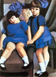 Two Little Girls with Ribbons | Lempicka | Painting Reproduction
