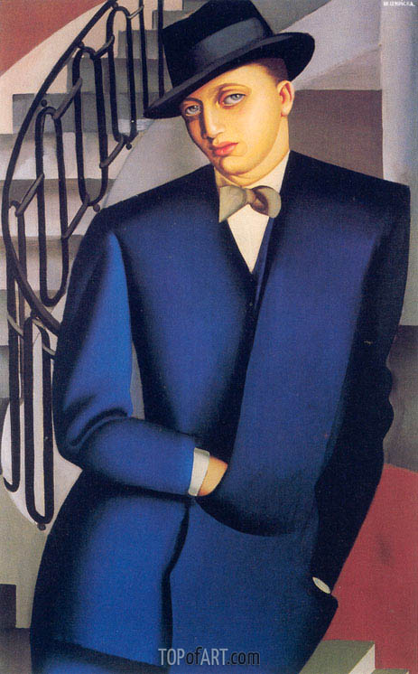 Portrait of the Marquis d'Afflito (On a Staircase), 1926 | Lempicka | Painting Reproduction