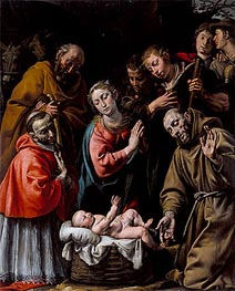 Adoration of the Shepherds with Saints Francis and Carlo Borromeo | Tanzio da Varallo | Gemälde Reproduktion