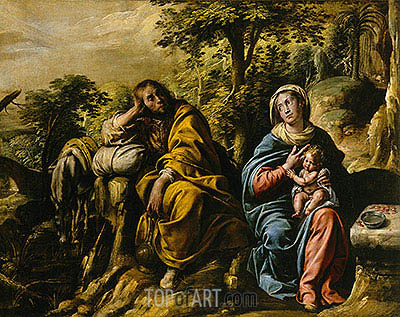 The Rest on the Flight into Egypt, c.1625/30 | Tanzio da Varallo | Painting Reproduction