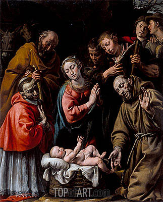 Adoration of the Shepherds with Saints Francis and Carlo Borromeo, c.1628 | Tanzio da Varallo | Painting Reproduction