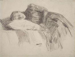 Young Girl Reclining, 1889 by Rysselberghe | Painting Reproduction