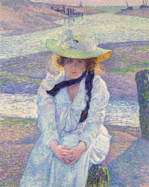 Young Woman at the Banks, 1901 by Rysselberghe | Painting Reproduction