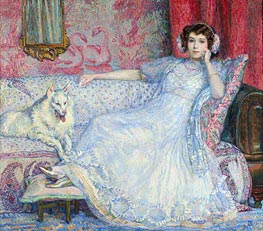 The Lady in White (Portrait of Madam Helen Keller), 1907 von Rysselberghe | Gemälde-Reproduktion