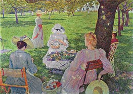 Family in an Orchard | Rysselberghe | Painting Reproduction