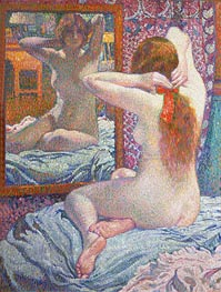 Nude Girl in Front of the Mirror | Rysselberghe | Painting Reproduction