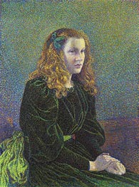 Young Woman in Green Dress (Germaine Marechal) | Rysselberghe | Painting Reproduction
