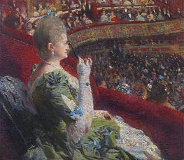 Madame Edmond Picard in the Box of Theatre de la Monnaie | Rysselberghe | Gemälde Reproduktion