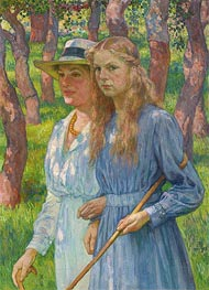 Portrait of Madame Schlumberger and Her Daughter | Rysselberghe | Painting Reproduction