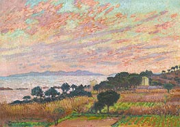The Bay at Sunset (Saint Clair) | Rysselberghe | Painting Reproduction