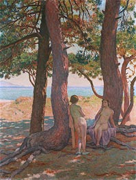 Two Bathers under the Pines by the Sea | Rysselberghe | Painting Reproduction