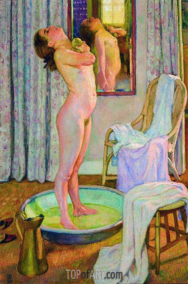 Young Girl in the Bath Tub, 1925 | Rysselberghe | Gemälde Reproduktion