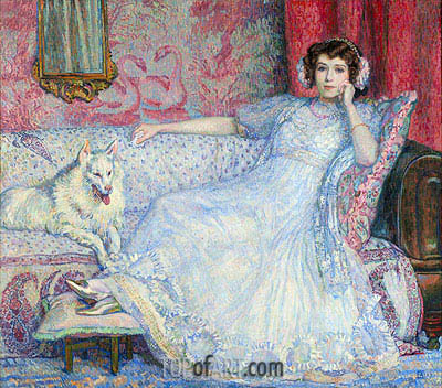 The Lady in White (Portrait of Madam Helen Keller), 1907 | Rysselberghe | Painting Reproduction