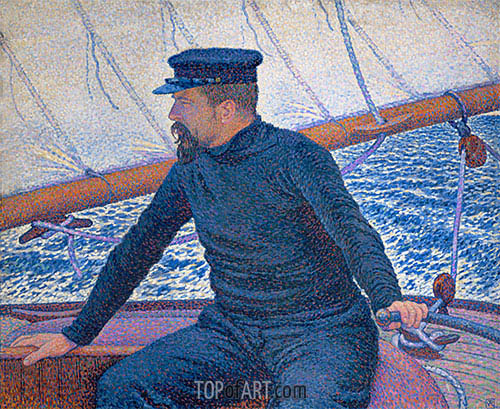 Paul Signac Aboard His Sailboat, 1886 | Rysselberghe | Gemälde Reproduktion