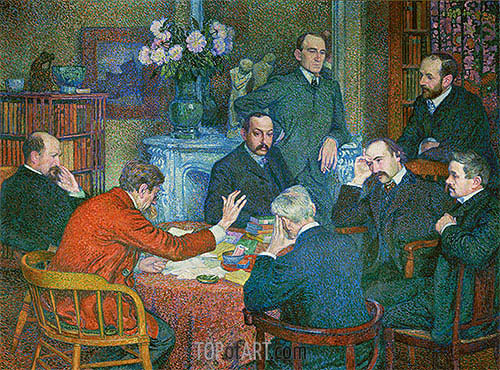 The Lecture by Emile Verhaeren (Reading in Saint-Cloud), 1903 | Rysselberghe | Gemälde Reproduktion