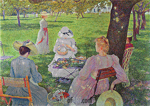 Family in an Orchard, 1890 | Rysselberghe | Painting Reproduction