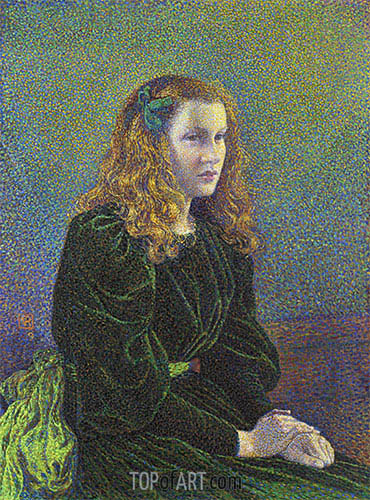 Young Woman in Green Dress (Germaine Marechal), 1893 | Rysselberghe | Gemälde Reproduktion