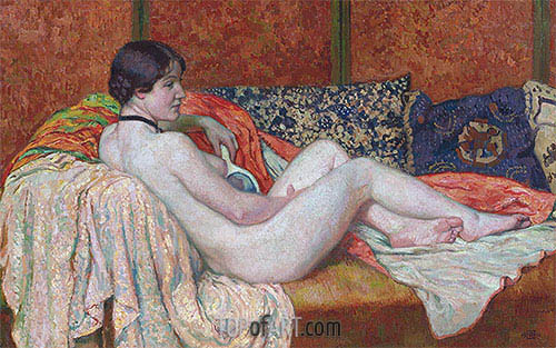 Resting Nude Model, 1914 | Rysselberghe | Painting Reproduction