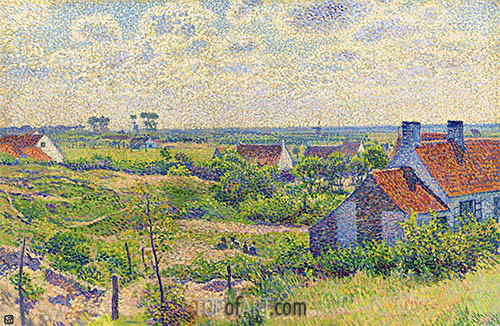 Landscape with Houses, 1894 | Rysselberghe | Gemälde Reproduktion