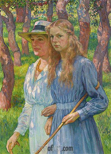 Portrait of Madame Schlumberger and Her Daughter, 1918 | Rysselberghe | Gemälde Reproduktion