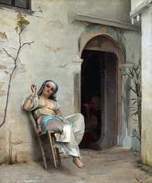 Turkish Woman Smoking (In the Courtyard) | Theodore Jacques Ralli | Gemälde Reproduktion