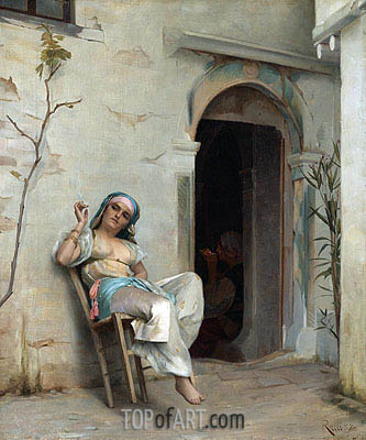 Turkish Woman Smoking (In the Courtyard), 1887 | Theodore Jacques Ralli | Painting Reproduction