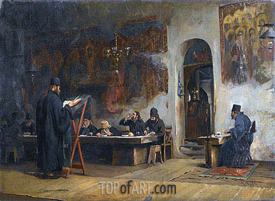 Refectory in a Greek Monastery (Mount Athos), 1885 | Theodore Jacques Ralli | Gemälde Reproduktion