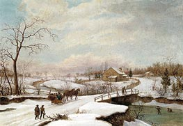 Philadelphia Winter Landscape, c.1830/45 by Thomas Birch | Painting Reproduction