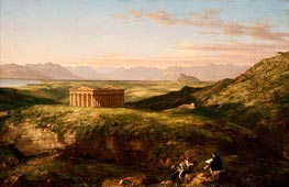The Temple of Segesta with the Artist Sketching | Thomas Cole | Painting Reproduction