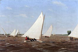 Sailboats Racing on the Delaware, 1874 von Thomas Eakins | Gemälde-Reproduktion