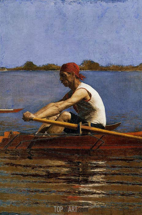 John Biglin in a Single Scull, c.1873/74 | Thomas Eakins | Painting Reproduction