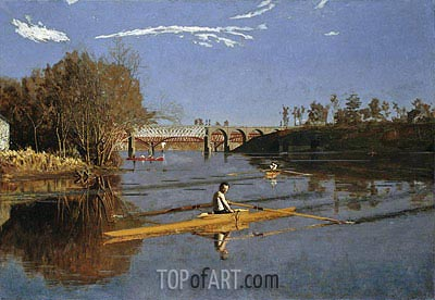 Max Schmitt in a Single Scull, 1871 | Thomas Eakins | Painting Reproduction