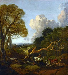 The Fallen Tree, c.1750/53 by Gainsborough | Painting Reproduction