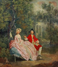 Conversation in a Park (Portrait of the Artist and his Wife, Margaret Burr), 1746 by Gainsborough | Painting Reproduction
