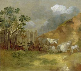 Landscape with Sheep, c.1744 by Gainsborough | Painting Reproduction