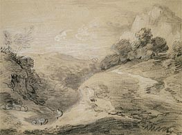 A Hilly Landscape with Shepherd and Sheep, Undated by Gainsborough | Painting Reproduction