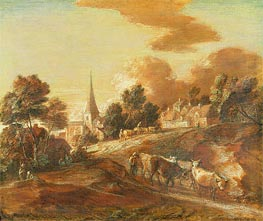 An Imaginary Wooded Village with Drovers and Cattle, c.1771/72 by Gainsborough | Painting Reproduction