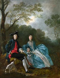 Portrait of the Artist with his Wife and Daughter, a.1748 von Gainsborough | Gemälde-Reproduktion