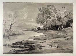 Wooded River Landscape with Shepherds and Sheep | Gainsborough | Painting Reproduction