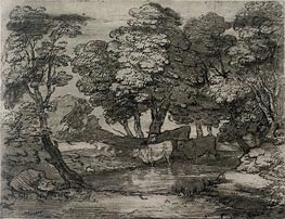Wooded Landscape with Three Cows at a Pool, Undated von Gainsborough | Gemälde-Reproduktion