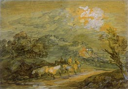 Upland Landscape with Figures, Riders and Cattle, c.1780/90 von Gainsborough | Gemälde-Reproduktion