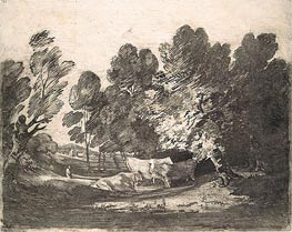 Wooded Landscape with Herdsmen and Cows | Gainsborough | Painting Reproduction
