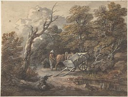 Woodland Scene with a Peasant, a Horse, and a Cart | Gainsborough | Painting Reproduction