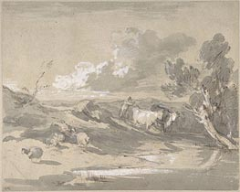 Open Landscape with Herdsman, Cows, and Sheep | Gainsborough | Gemälde Reproduktion