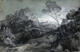 Mountain Landscape with Figures and Buildings | Gainsborough | Gemälde Reproduktion