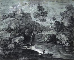 Mountain Landscape with a Castle and a Boatman | Gainsborough | Gemälde Reproduktion