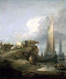 Coastal Scene with Shipping and Cattle | Gainsborough | Gemälde Reproduktion
