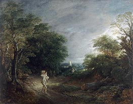 Wooded Landscape with a Woodcutter, c.1762/63 by Gainsborough | Painting Reproduction